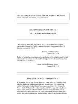 T  rkiye`de Ekonomi ve Toplum (1908-1950) Milli