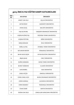 genç-İMO 8. Yaz Eğitim Kampı Katılımcı listesi