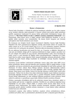 Basına ve Kamuoyuna Önceki hafta Diyarbakır ve Mardin`de