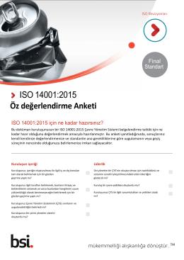 ISO 14001:2015 Öz değerlendirme Anketi