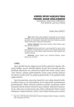 kıbrıs spor hukuku`nda teknik adam sözleşmesi
