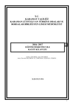 2016-2017 kayıt kılavuzu - KARAMAN / MERKEZ