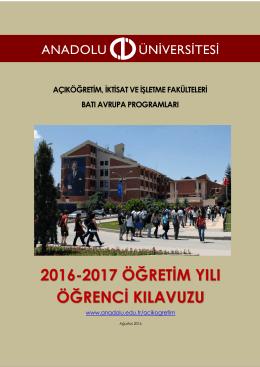 2016-2017 Batı Avrupa Programları Öğrenci Kılavuzu