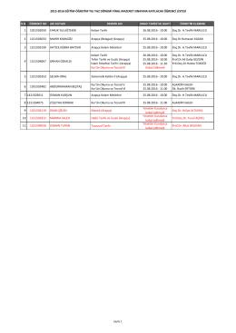 yaz okulu final mazeret sınavına katılacak öğrenci listesi