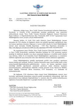 Konu : CNS Olay Raporla - Sivil Havacılık Genel Müdürlüğü