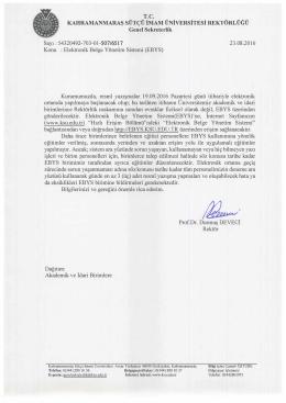 EBYS - Kahramanmaraş Sütçü İmam Üniversitesi