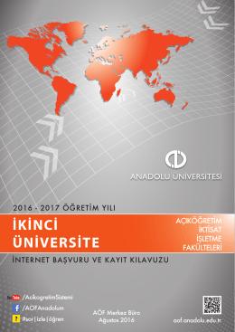 2016-2017 İkinci Üniversite İnternet Başvuru ve Kayıt Kılavuzu