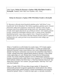 T  rkiye`de Ekonomi ve Toplum (1908-1950) ttihat