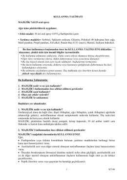 KULLANMA TALĐMATI MAJEZĐK %0.25 oral sprey Ağız