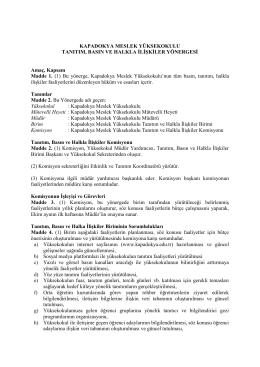 KMYO Tanıtım, Basın ve Halkla İlişkiler Yönergesi