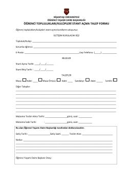 öğrenci toplulukları/kulüpleri stant açma talep formu
