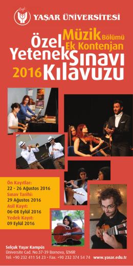 Kılavuzu - Yaşar Üniversitesi Aday Bilgi