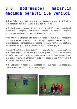 BB Bodrumspor hazırlık maçında penaltı ile yenildi