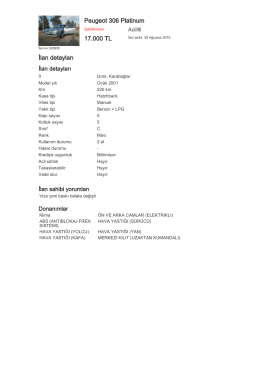 Peugeot 306 Platinum 17.000 TL İlan detayları