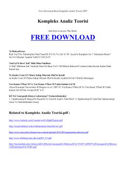 KOMPLEKS ANALIZ TEORISI - Free Book
