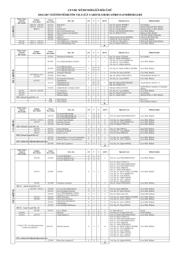 2016-2017 güz yarıyılı ders görevlendirmeleri