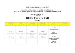 DERS PROGRAMI - İTÜ Sosyal Bilimler Enstitüsü