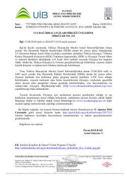 TÜRKİYE ETİYOPYA İŞ FORUMU 6/8 EYLÜL 2016 ADDİS ABABA HK.