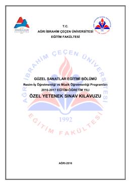 özel yetenek sınav kılavuzu - Ağrı İbrahim Çeçen Üniversitesi