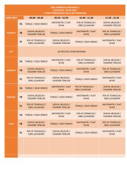7.sınıflar - Bornova Koleji