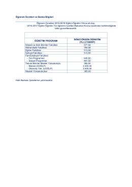 Öğrenim Ücretleri ve Banka Bilgileri Öğrenim Ücretleri 2015