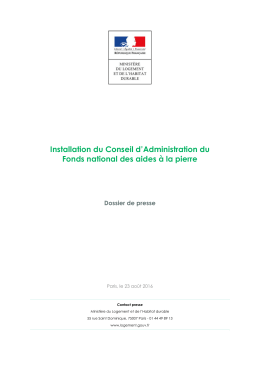 Installation du Conseil d`Administration du Fonds national des aides