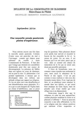 Le bulletin paroissial - Communauté de Paroisse Catholique de