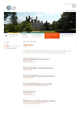 Agenda - Bouger, sortir - Mairie de Villers-lès