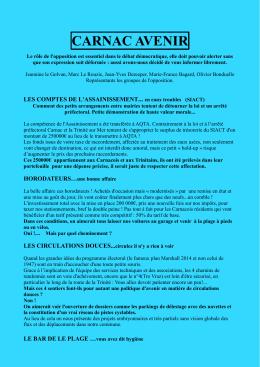 Carnac-Avenir infos bleues juillet 2016