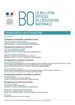 Bulletin officiel n°30 du 25 août 2016 Sommaire