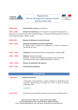 Programme du Salon de l`Enseignement