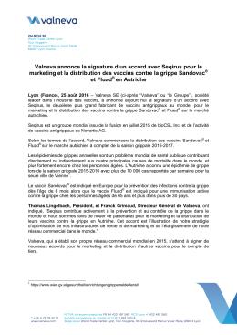 Valneva annonce la signature d`un accord avec