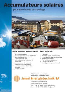 Accumulateurs solaires - Jenni Energietechnik AG