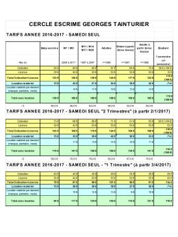 Tarifs 2016 2017 samedi seul