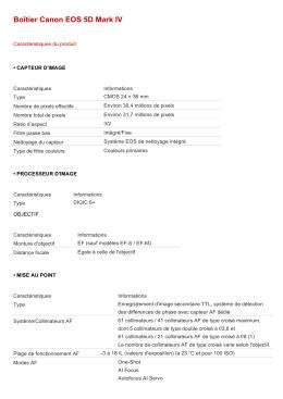 Caractéristiques techniques Canon EOS 5D Mark IV