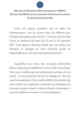 Allocution de Monsieur le Bâtonnier Jacques A