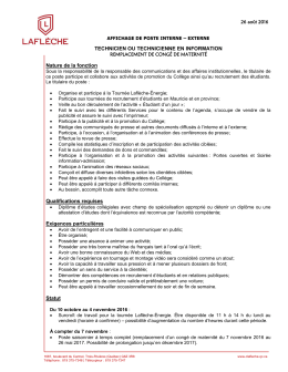 TECHNICIEN OU TECHNICIENNE EN INFORMATION Nature de la