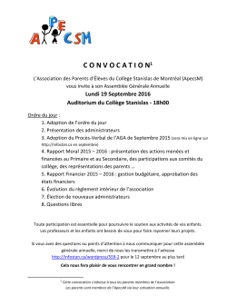 C O N V O C A T I O N - Association des Parents d`Élèves du