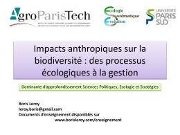 Impacts anthropiques sur la biodiversité