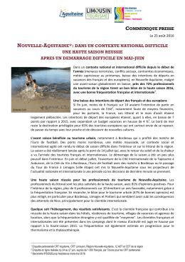 Nouvelle Aquitaine communiqué presse Saison 2016