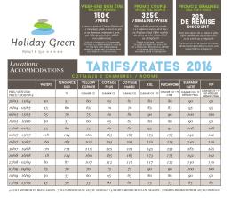 Tarifs 2016 - Holiday Green