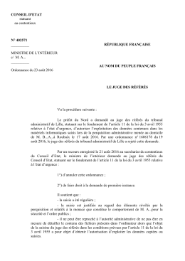 CONSEIL D`ETAT statuant au contentieux N° 402571
