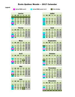 École Québec Monde – 2017 Calendar