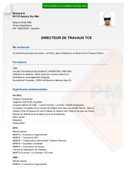 Recrutement CV DIRECTEUR DE TRAVAUX TCE - réf