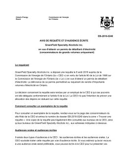 EB-2016-0240 AVIS DE REQUÊTE ET D`AUDIENCE ÉCRITE