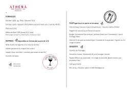 La carte du restaurant - Hotel Design Strasbourg | Athena Spa