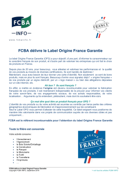 FCBA délivre le Label Origine France Garantie