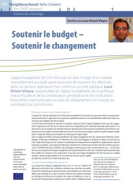 Soutenir le budget – Soutenir le changement