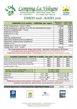 tarifs 2016 - camping La Vologne