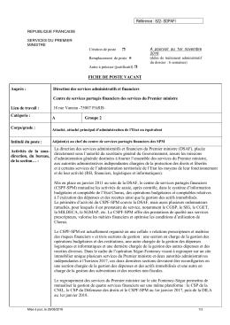 Référence : 822- SDPAFI FICHE DE POSTE VACANT Auprès